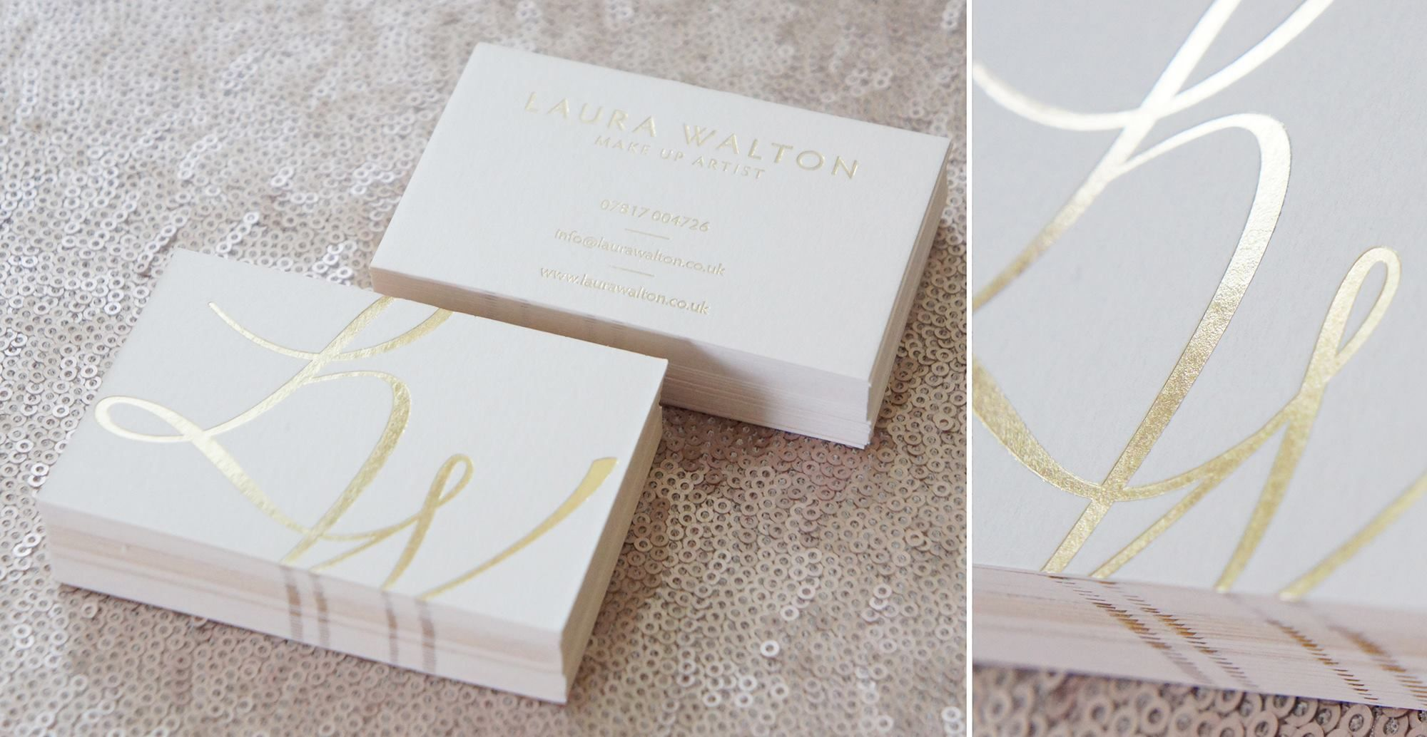 Gold foil business cards on gorgeous V540gsm Vellum White Colorplan ...