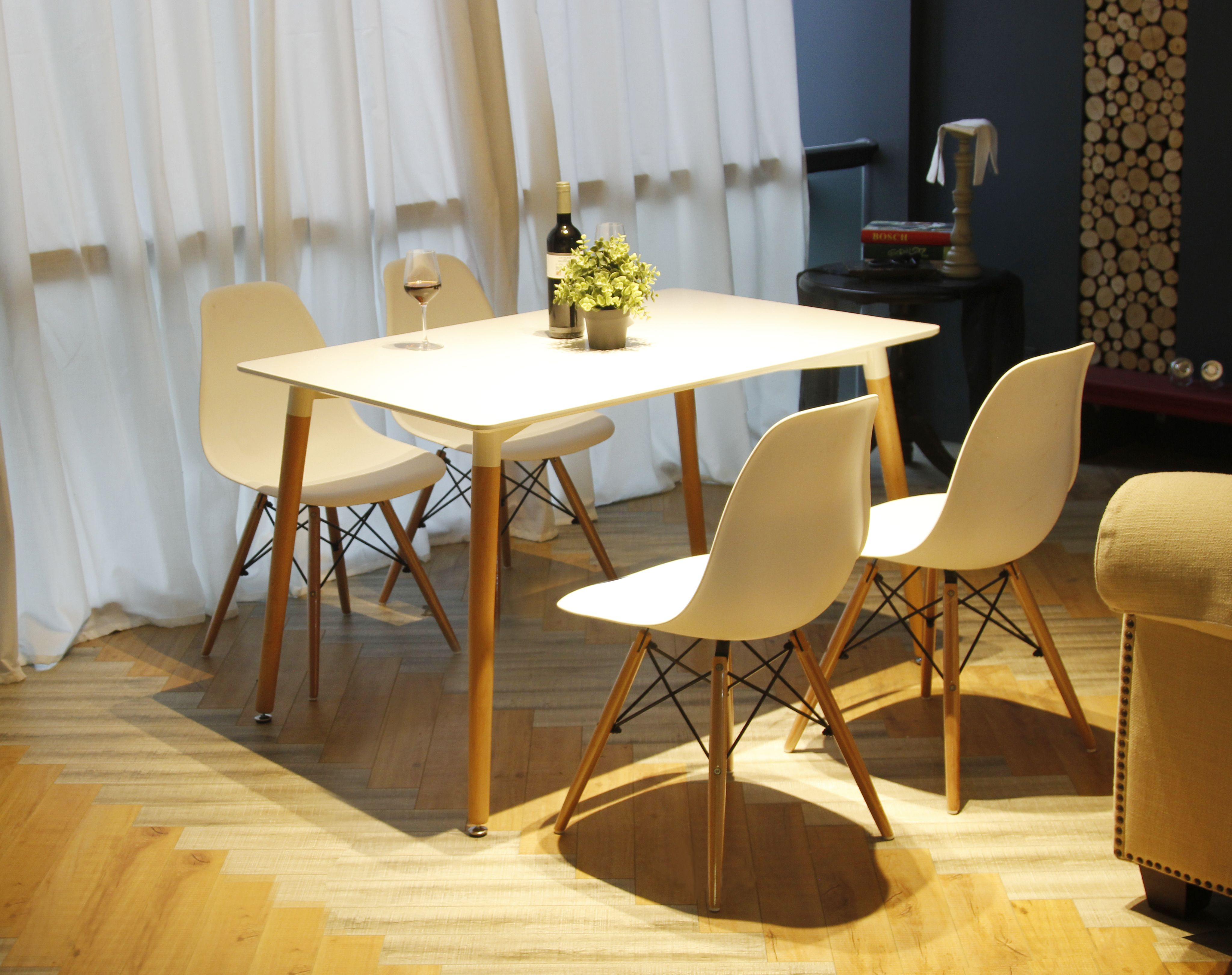 Gia White Armless Dining Chair Eames Style Easy Assembly Durable Prepossessing Comfortable Dining Room Sets Design Inspiration