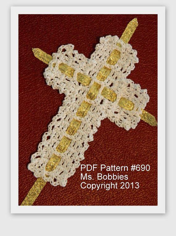 Crochet Cross Bookmark Pattern Ribbon Cross Bookmark Pdf 690
