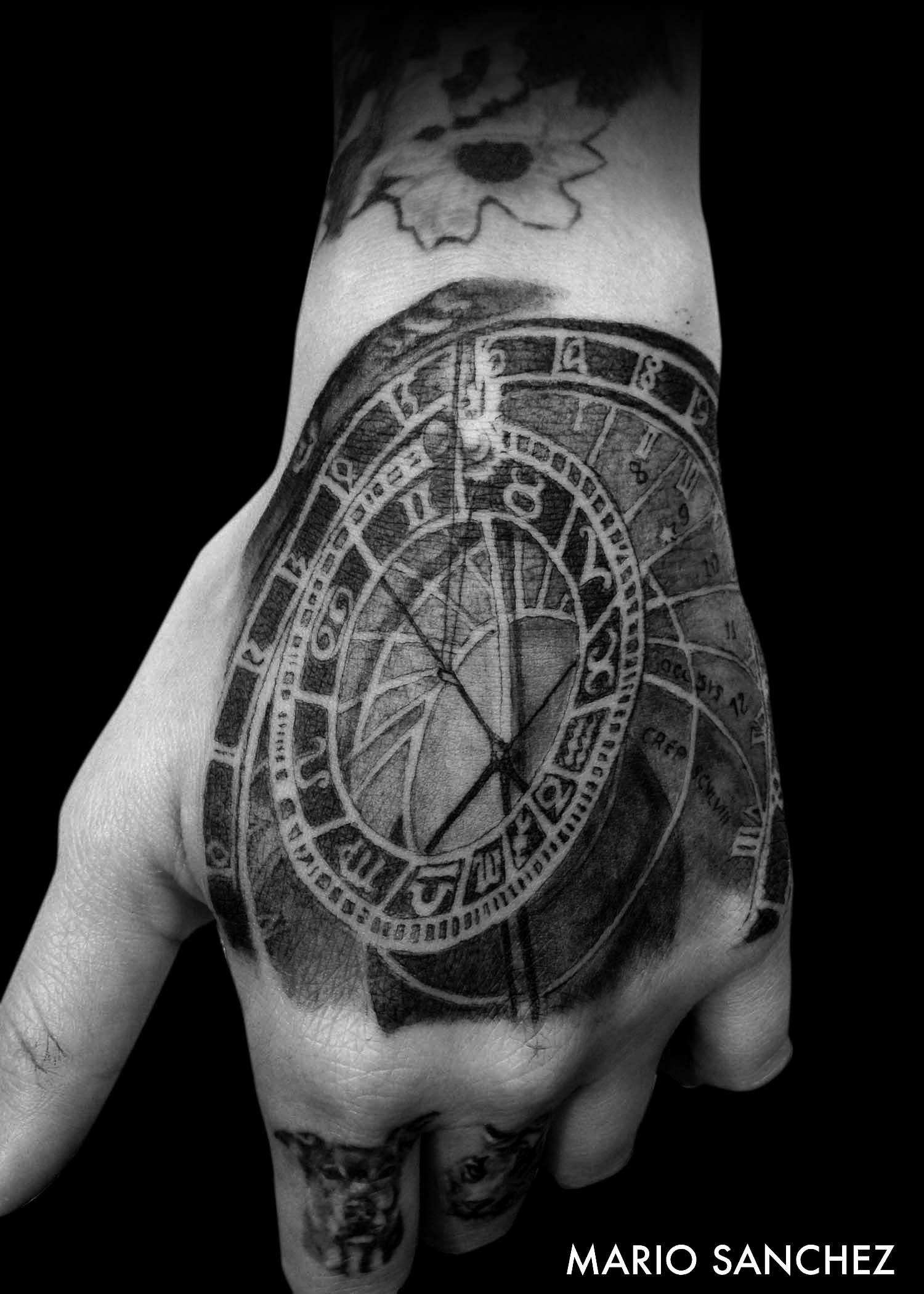 Astronomical Clock Tattoo: Black And Grey Tattoo Of Prague Clock On Hand