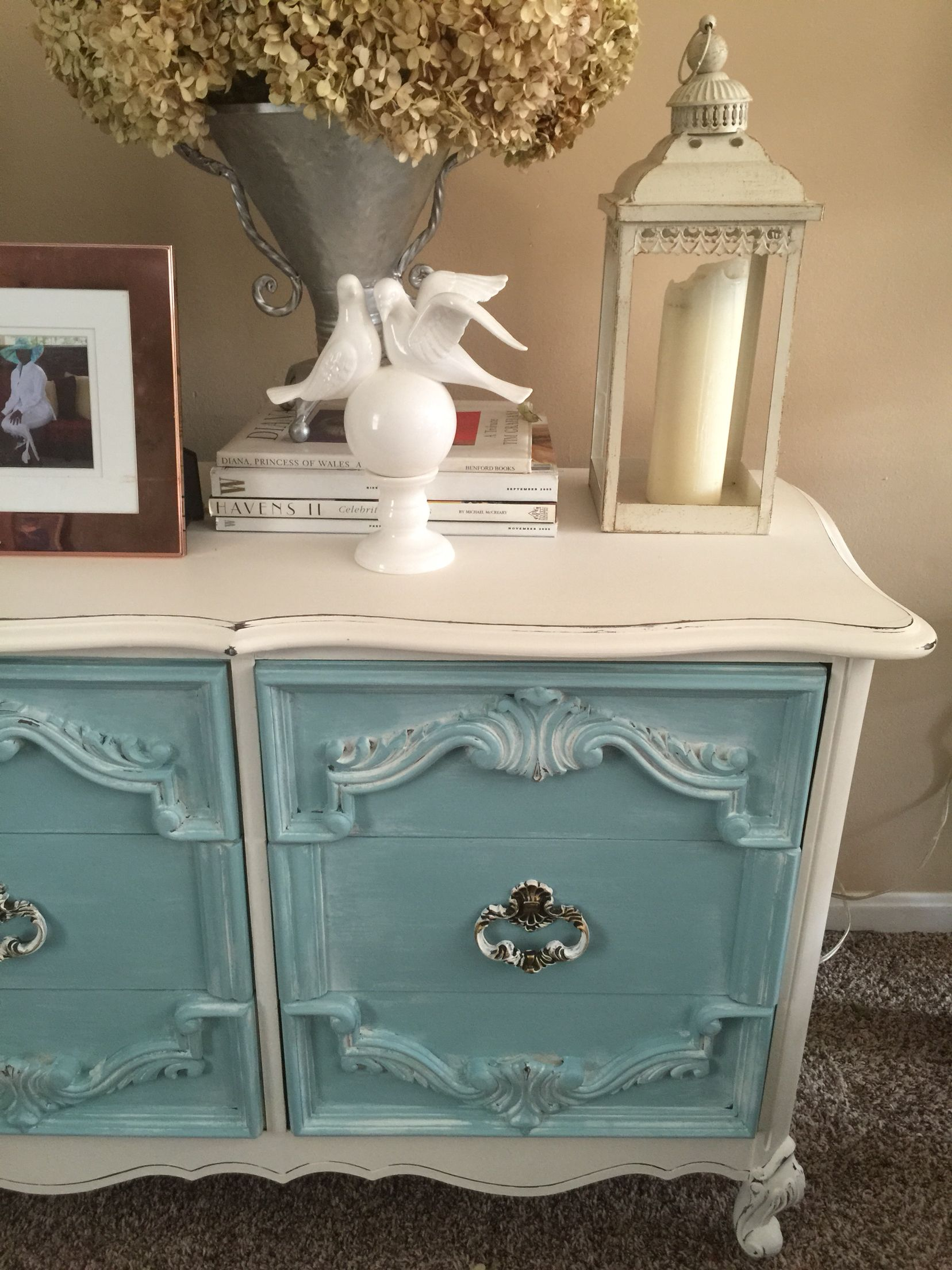 Pretty dresser painted with APC paint...body is Limoges drawers are custom mix of Voyage & Shoreline