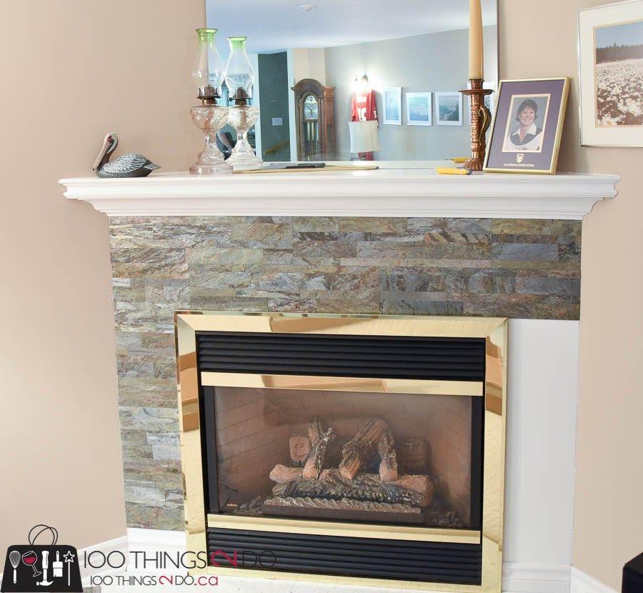 Fireplace Surround Aspect Peel Stick Tile Stone Fireplace Surround Stone Fireplace Stone Fireplace Surround Fireplace Surrounds Brick Fireplace Makeover