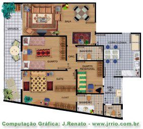 Fully furnished apartment floor plan rendering Rendering floor plans
