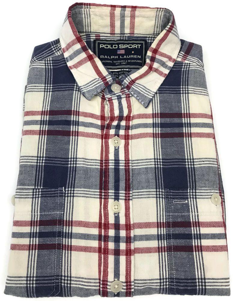 Vintage Ralph Lauren Polo Sport Shirt Large Mens Short