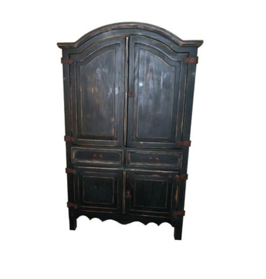 Rustic Black Sierra Armoire * Antique Finish * Distressed * Solid Wood * TV  *