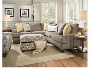 """Jayden Sectional, Armless Chair FREE is part of Sectional Living Room Floor Plans - The Jayden stationary sectional is a """"sophisticated"""", transitional linen look with track arms and brass nails  Additional armless seats can be added to either end of the sectional to increase the seating capacity  This collection also features reversible seat and back cushions for increased comfort and durability"""