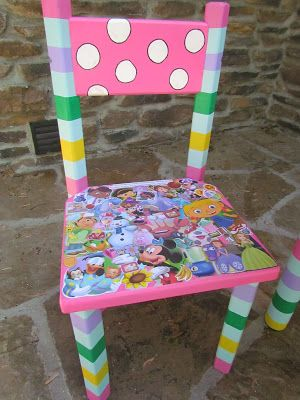 Disney Junior Theme Decoupage And Hand Painted Childrenu0027s Chair Shopdog  Furniture