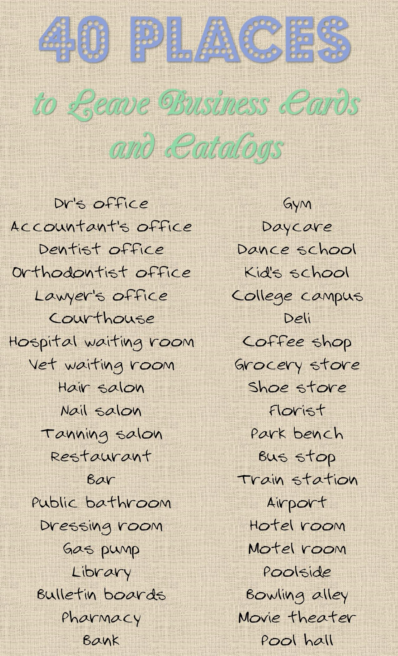40 Places to Leave Your Business Card or Catalog | Direct selling ...