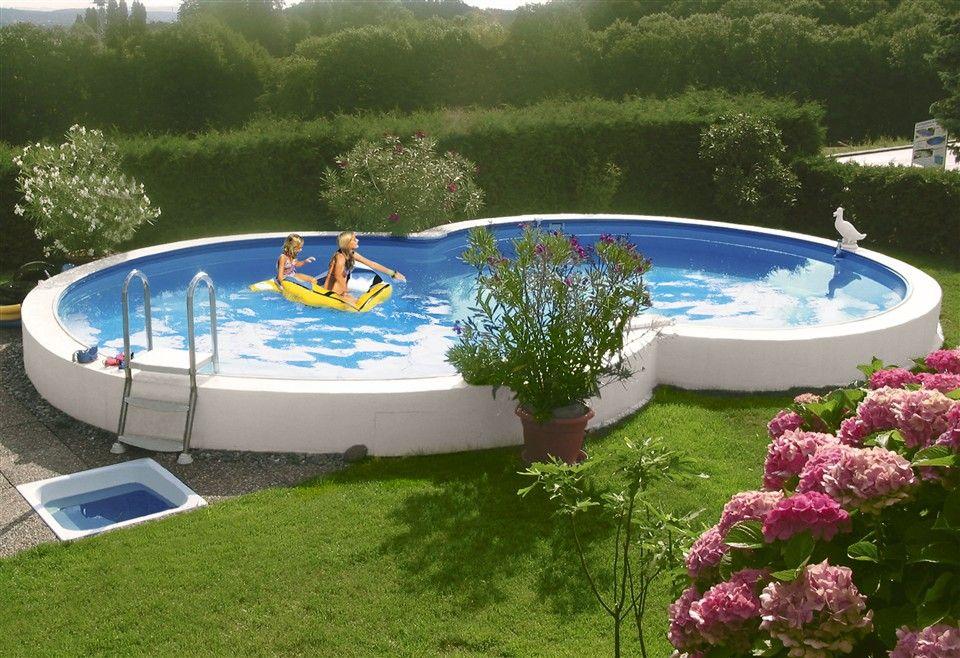 Die Becken Konnen Frei Aufgestellt Teilversenkt Oder Ebenerdig Eingebaut Werden Stahlwand 0 6 Mm Stark Bei Beckenhohe 150 Cm 0 7 Pool Pool Terrasse Garten