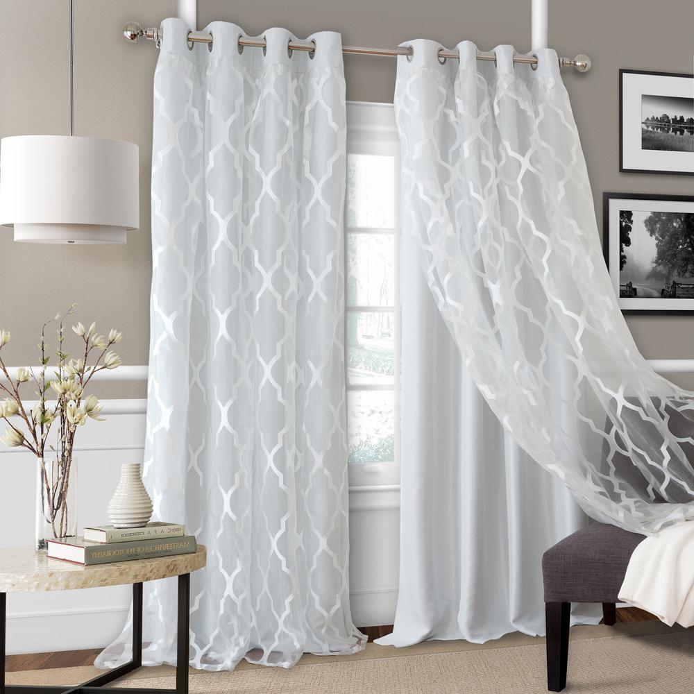 Elrene Bethany Sheer Overlay Blackout Window Curtain 23033fog