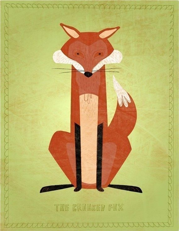 Fox Art  The Crooked Fox Print 85 in x 11 in by johnwgolden, $20.00