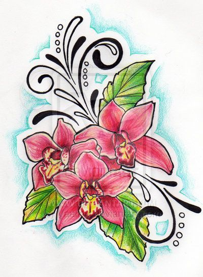 Orchid Tattoo Drawing 4 Jpg 400 545 Orchid Tattoo Orchid Flower Tattoos Flower Tattoo Drawings