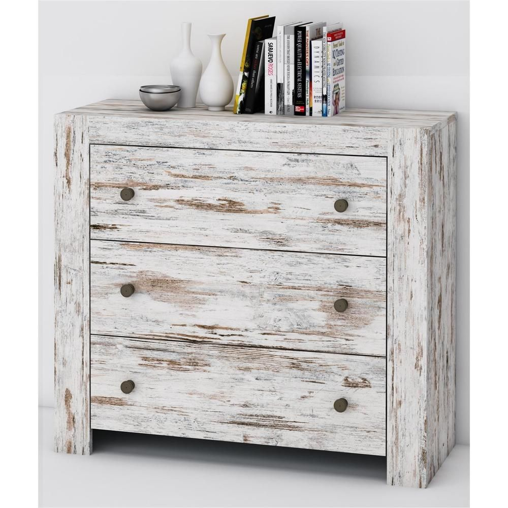details zu kommode sideboard shabby chic vintage wei 90 cm 3 schubladen used look rustic. Black Bedroom Furniture Sets. Home Design Ideas