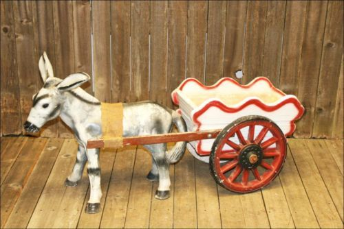 Vtg Concrete Donkey Wagon Statue Weathered Garden Chalkware Art
