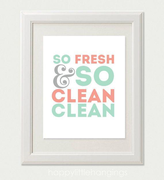 So Fresh So Clean Clean 8x10 Art Print By Happylittlehangings Coral Bathroom