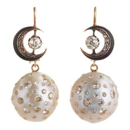 Renee Lewis Pearl & Diamond Moon Drop Earrings at Barneys.com