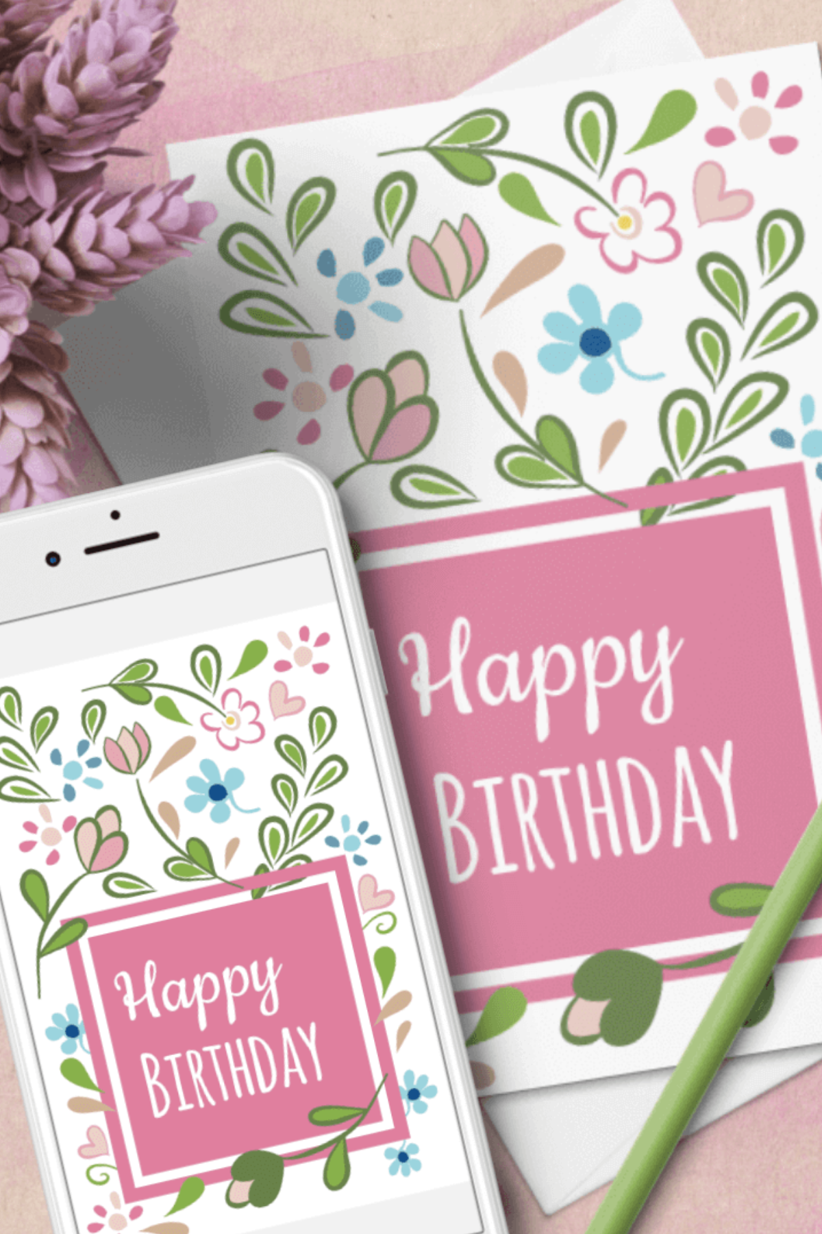 Floral Birthday Card Templates Word Docx Interactive Pdf 521886 Templates Design Bundles Birthday Card Template Card Templates Birthday Cards