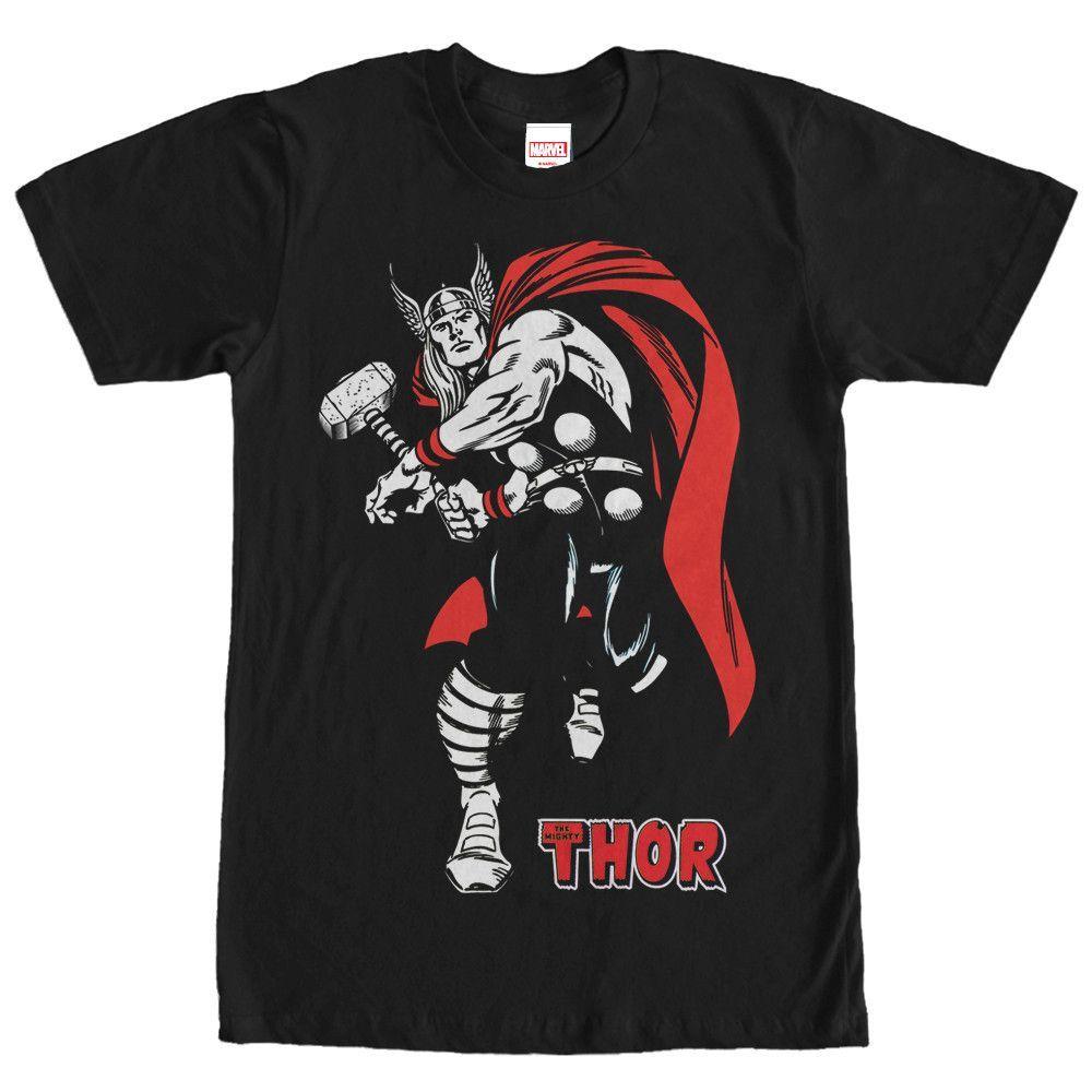 Marvel Mighty Thor Hammer Strike Black TShirt Men's