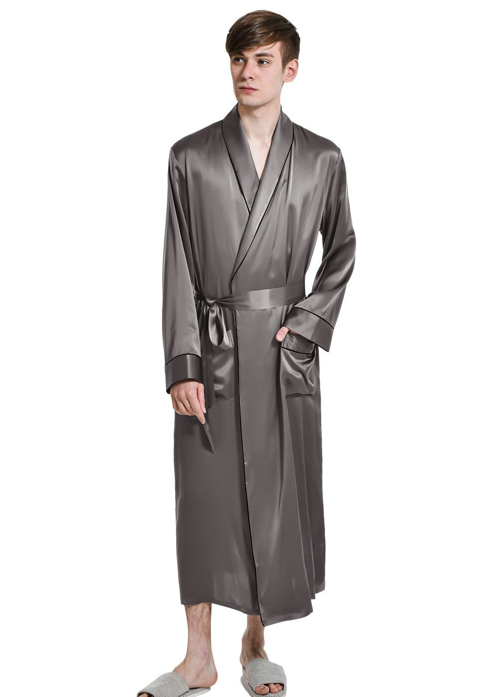 Men\'s Classic Long Silk Robe Dressing Gown | Dressings and Bath