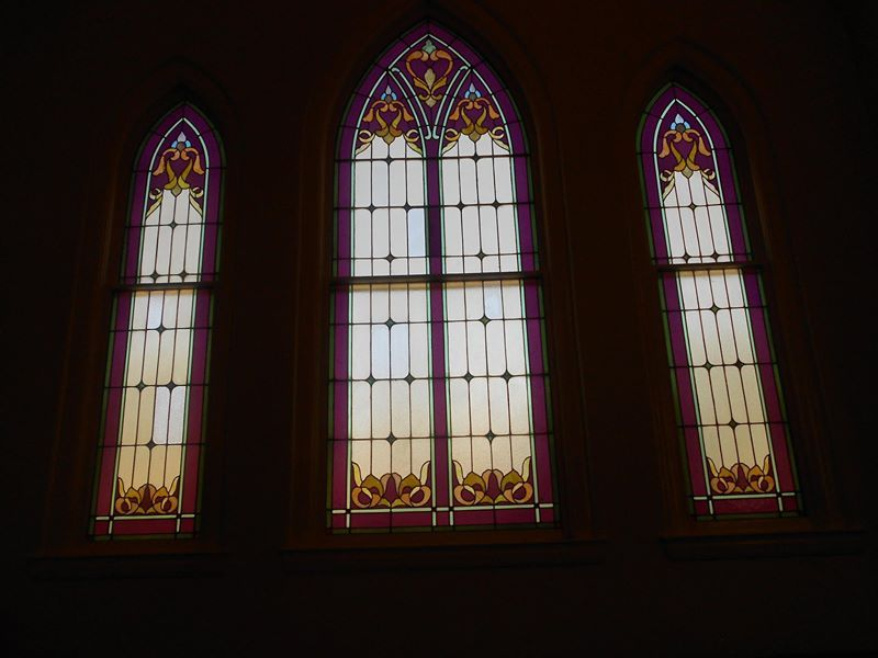 The beautiful lavendar accented stained glass windows in the 27th East Ward LDS Chapel In Salt Lake City.  Both my husband I were blessed/christened in this Chapel, as were all my children.  My grandparents also attended this building from 1947 to their deaths in the 70s.