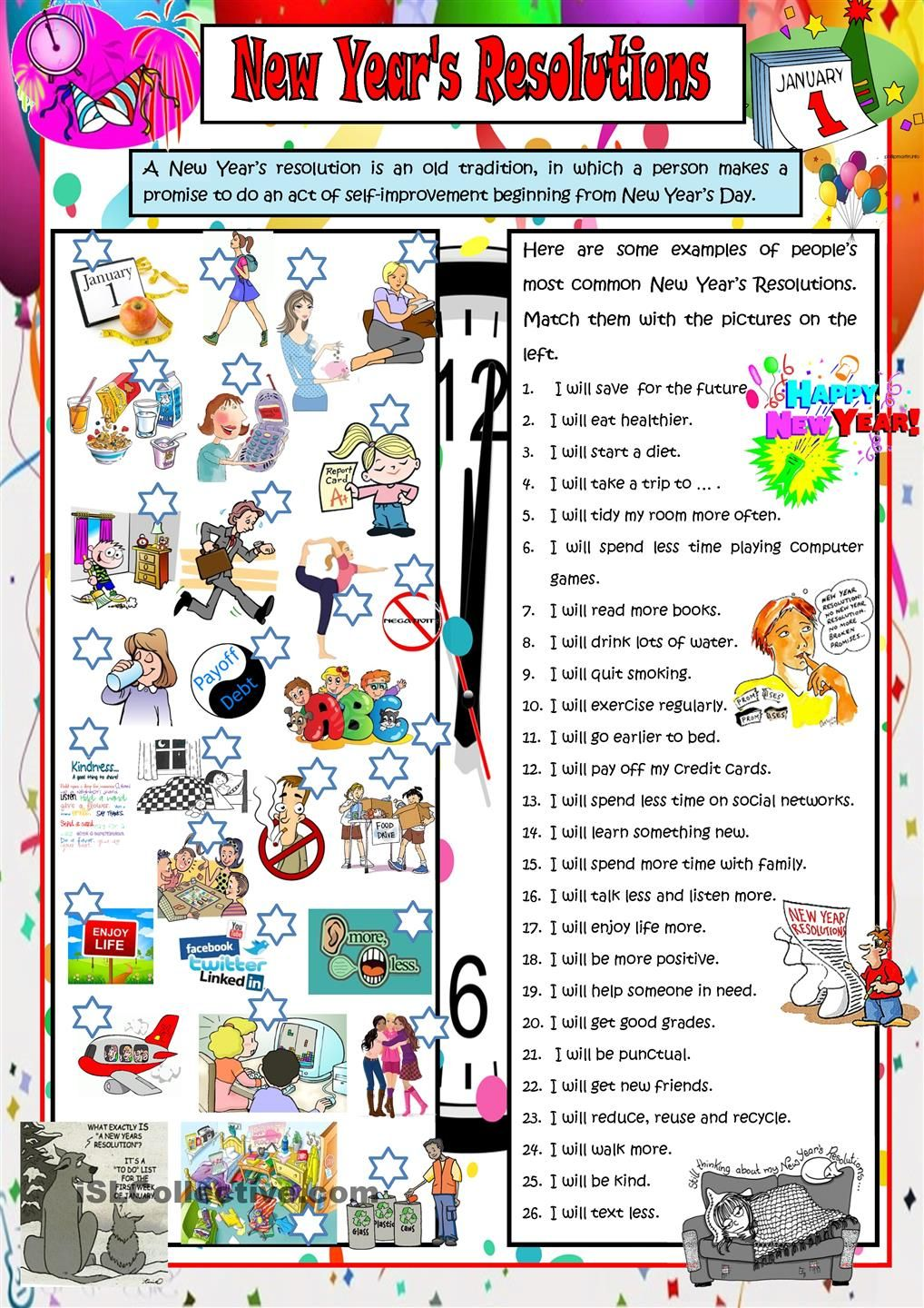 New Year S Resolutions Escola Ingleses