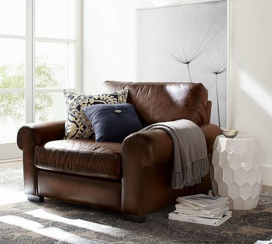 Turner Roll Arm Leather Armchair Living Room Chairs Comfy