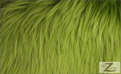 Green Faux Fur Gr Rug Sofa Throw Jacket Solid Gy Fabric Lime Long Pile Sold Bty Mongolian Ebay