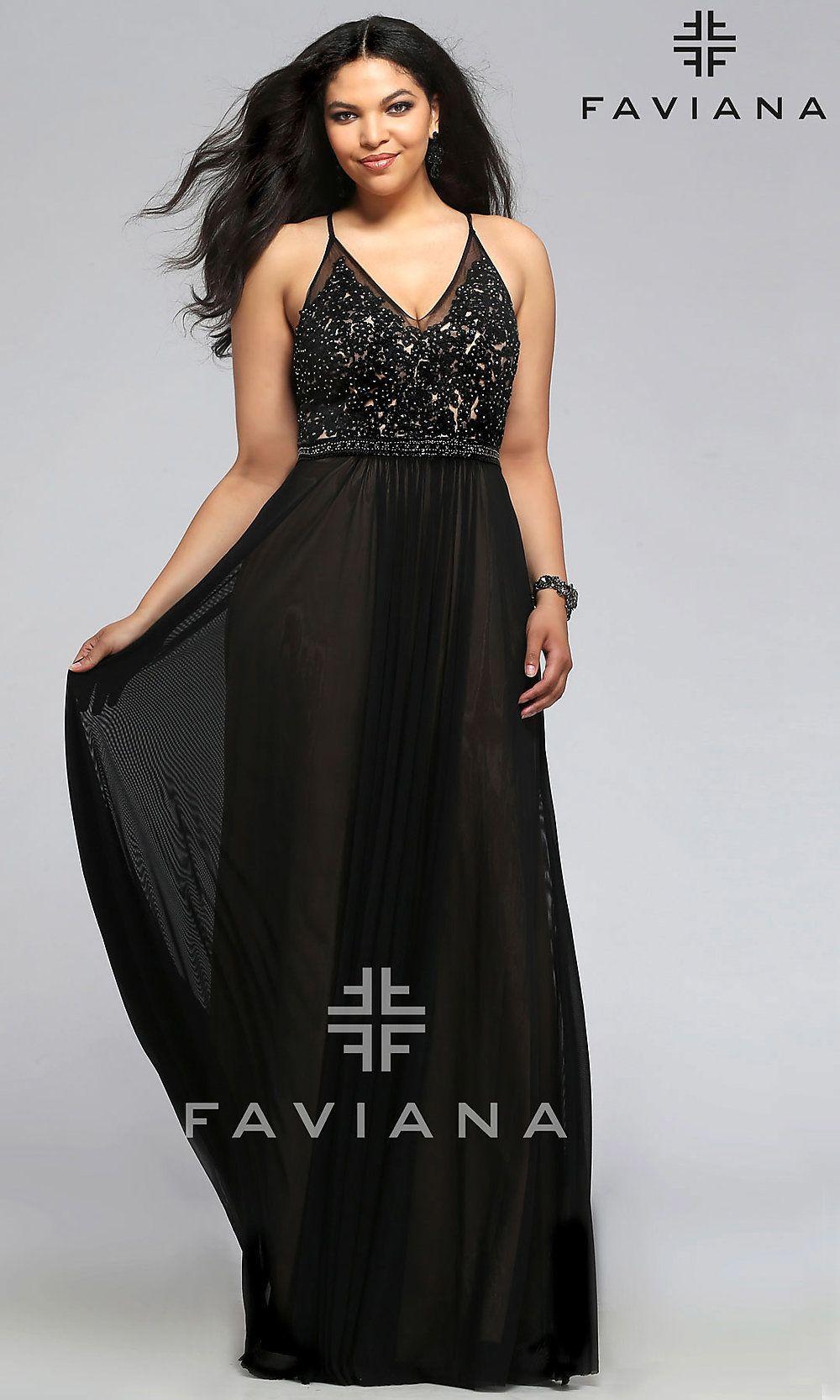 Faviana V Neck Plus Size Long Black Prom Dress Plus Size Formal Dresses Faviana Dresses Plus Size Prom Dresses [ 1666 x 1000 Pixel ]