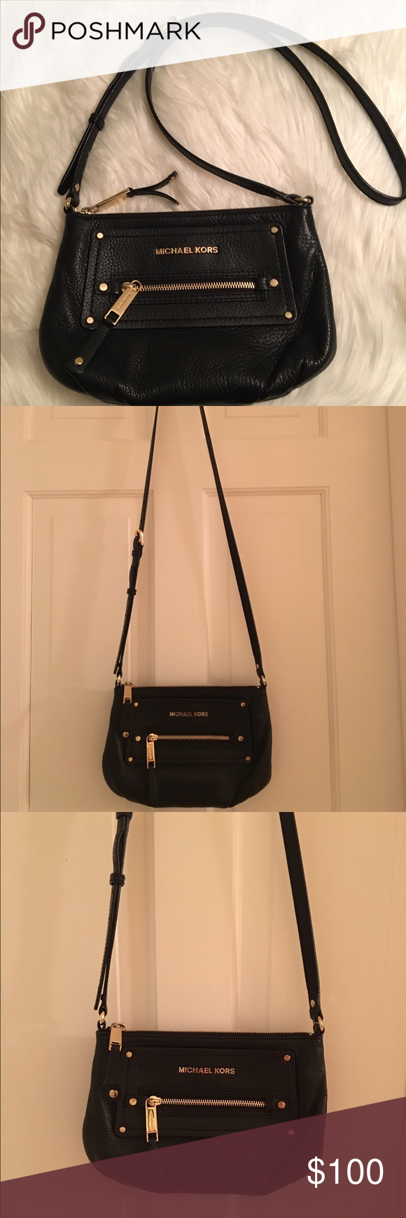 MICHAEL KORS black leather cross body purse MICHAEL KORS black leather cross body purse. Excellent condition! Smoke free home MICHAEL Michael Kors Bags Crossbody Bags