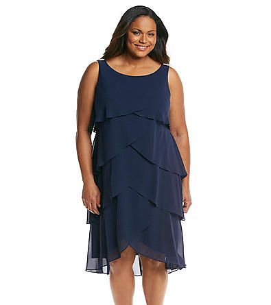 S.L. Fashions Plus Size Sleeveless Tiered Chiffon Dress ...