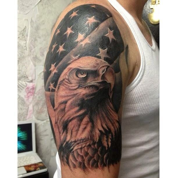 Black And Grey American Flag And Bald Eagle Tattoo Half Sleeve Eagle Tattoo Bald Eagle Tattoos American Flag Tattoo