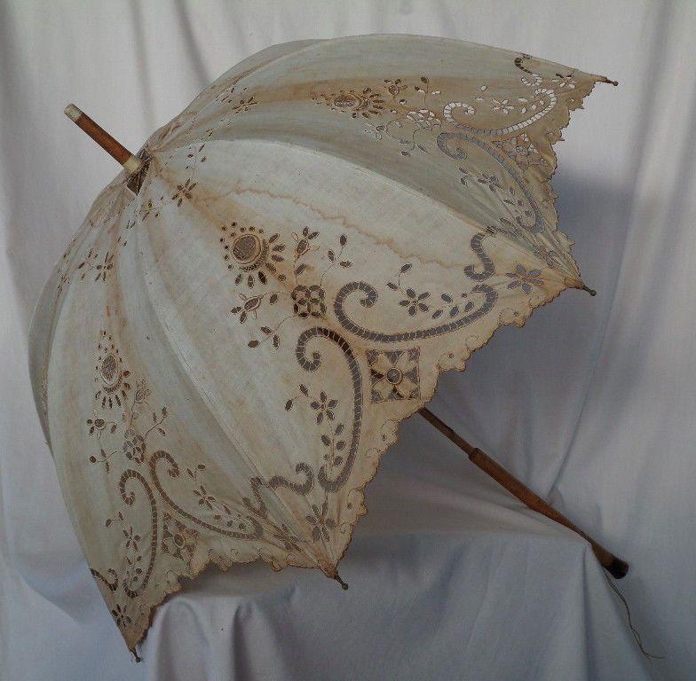 Antique Parasol First Half 1800 Handmade In Italy Lace Umbrella Lace Parasol Parasol