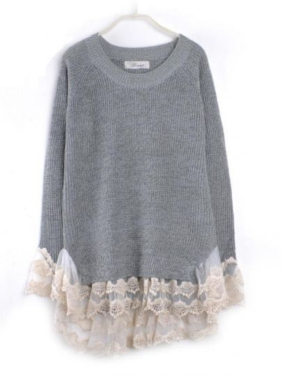 Lace Hem Stitching Pullover Grey pictures  af9761c00