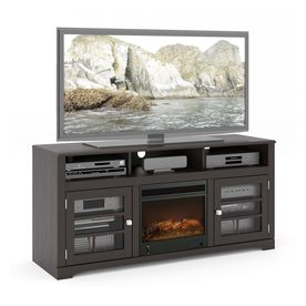 Corliving 60-In W Mocha Black Wood Electric Fireplace With Remote ...