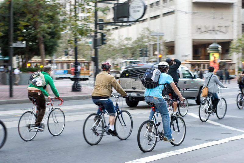 City Bikers In San Francisco Environmentally Conscious Bikers In