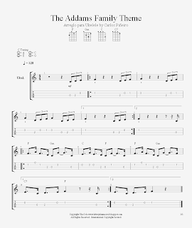 La Brújula Musical The Addams Family Theme For Ukelele Nivel Intermedio Canciones De Ukelele Acordes De Ukelele Ukulele Tabs