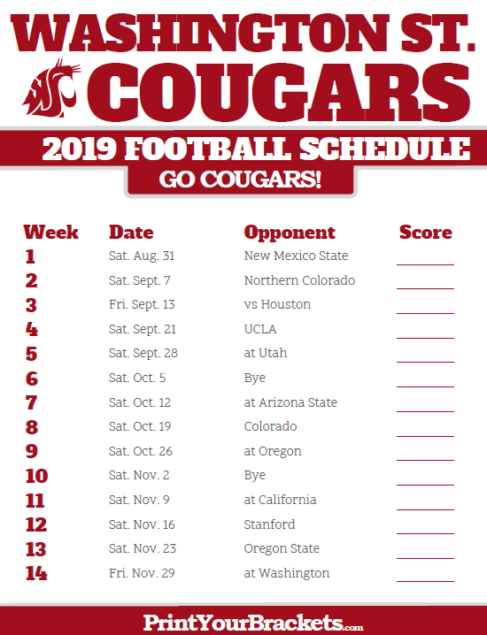 Wsu Football Schedule 2019 2019 Washington State Cougars Football Schedule | Printable