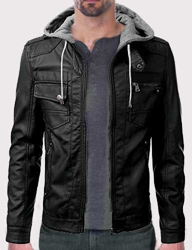 fed041f1b IDARBI Urban Knight Leather Jacket with Detachable Hoodies For Guys ...