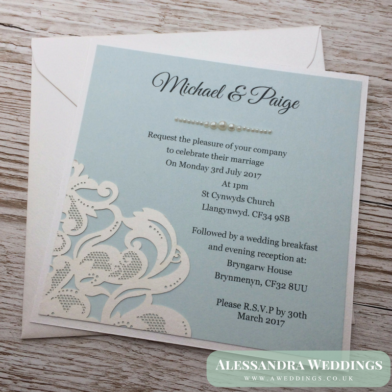 laser cut wedding invites canada%0A Lace and Pearls Wedding Invitation  Wedding Invite Handmade Personalised  Unique Unusual Different Laser cut Pearlescent