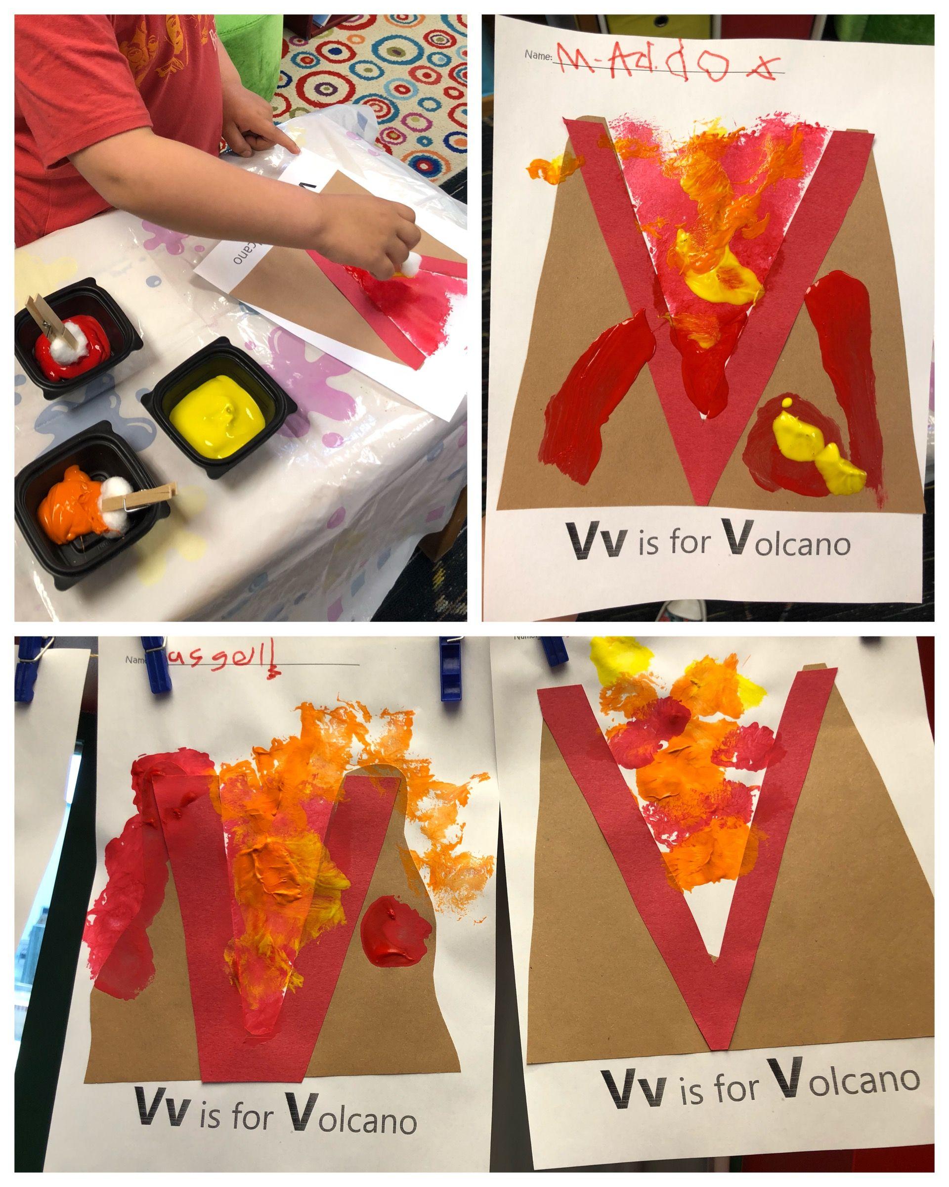 V Is For Volcano Alphabet Art Letter Art Letter V Pre K