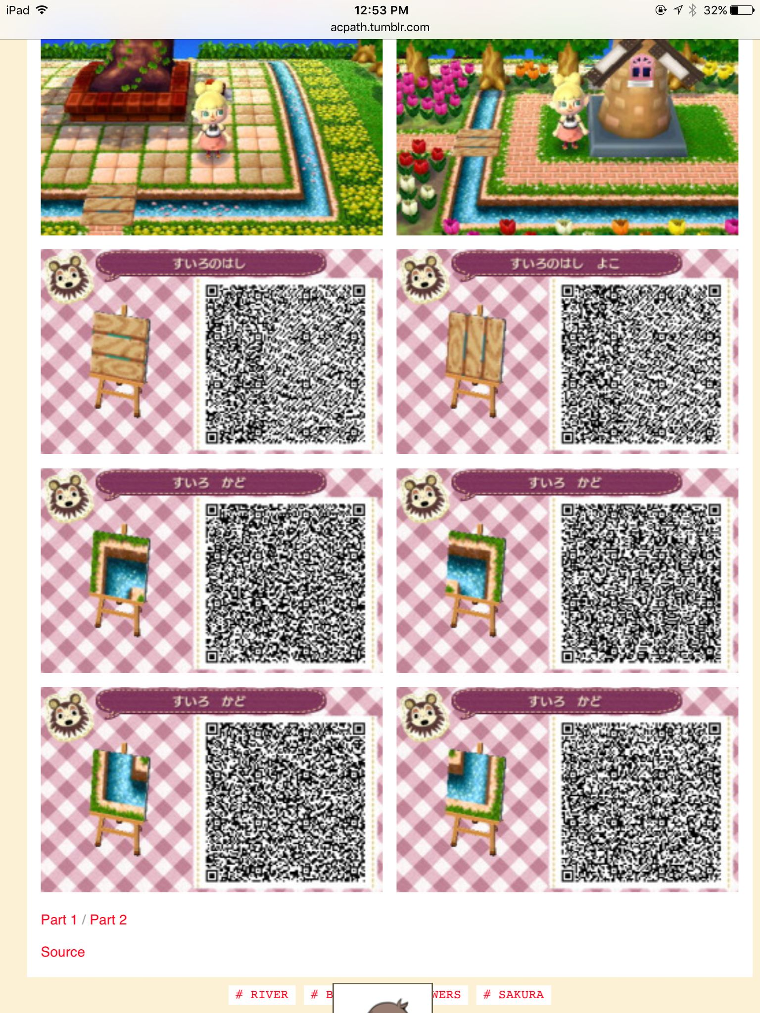 Water Bridge Pieces Acnl Qr Code Paths Chemins Acnl