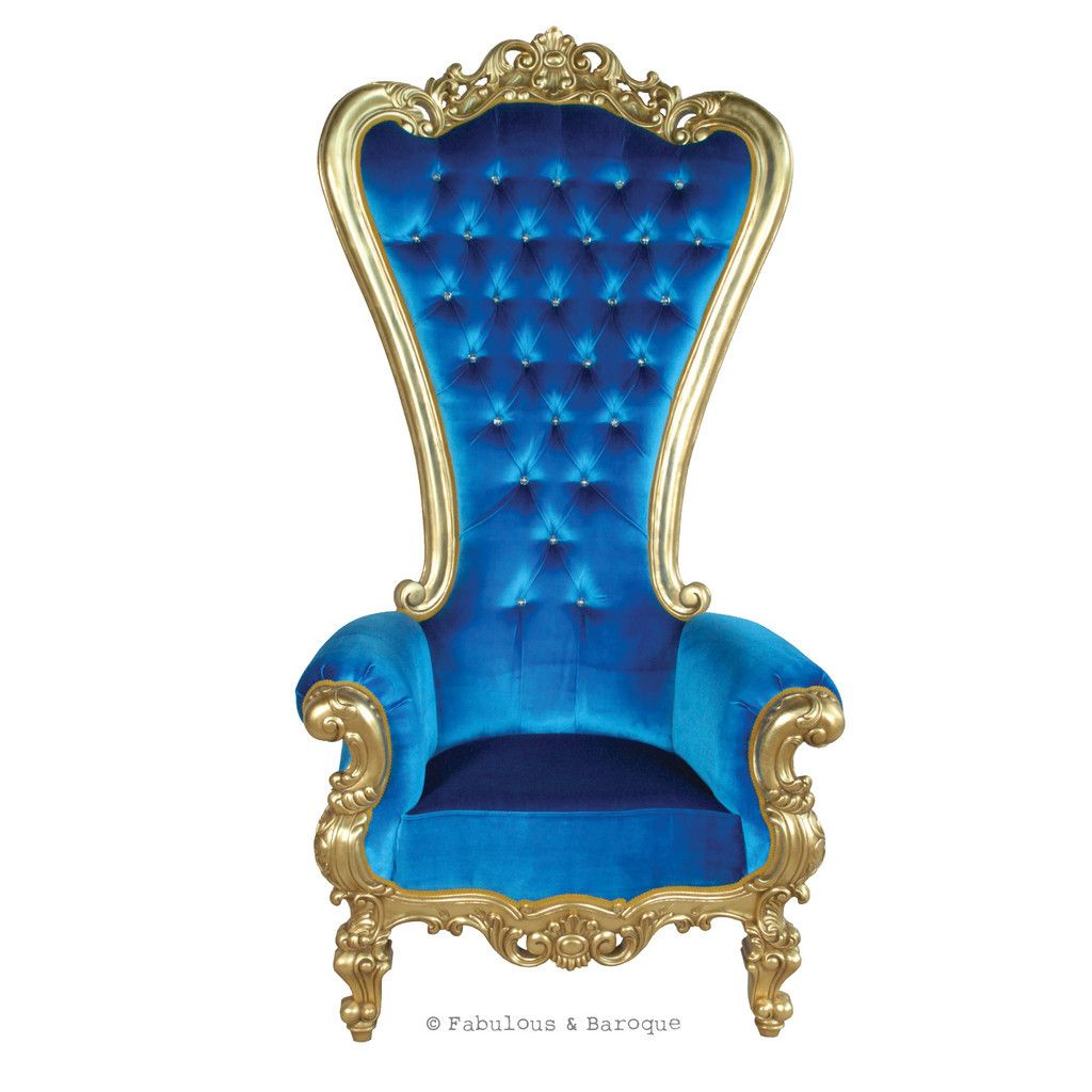 Babyshower · Absolom Roche Chair   Gold U0026 Royal Blue Velvet