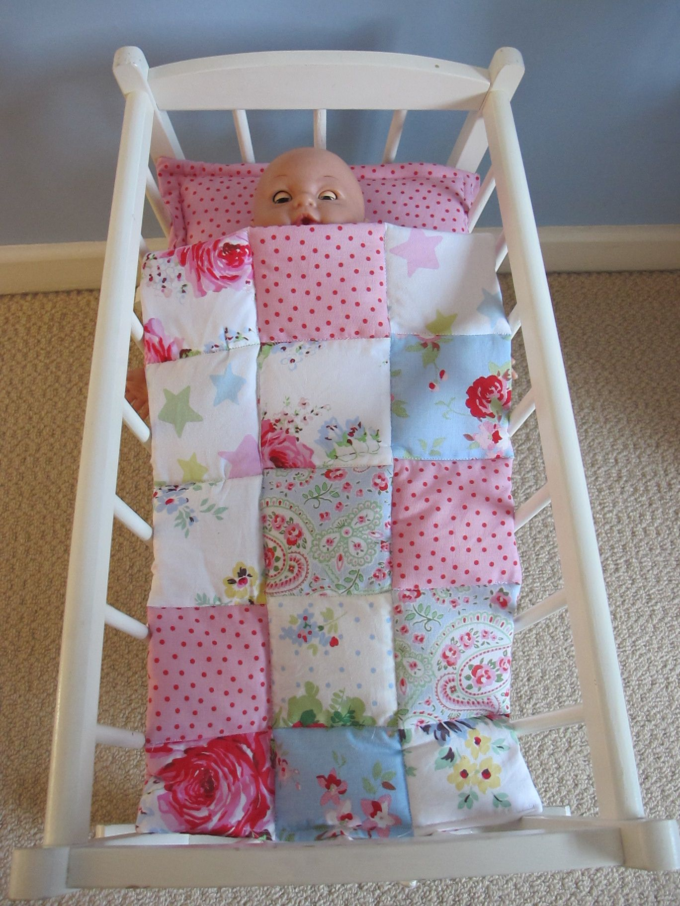 Dolls Cot Or Crib Bedding Patchwork Eiderdown Doll Beds