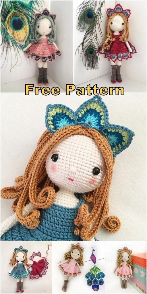 Amigurumi Lady Peacock Free English Crochet Pattern - Crochet.msa.plus #love cro...