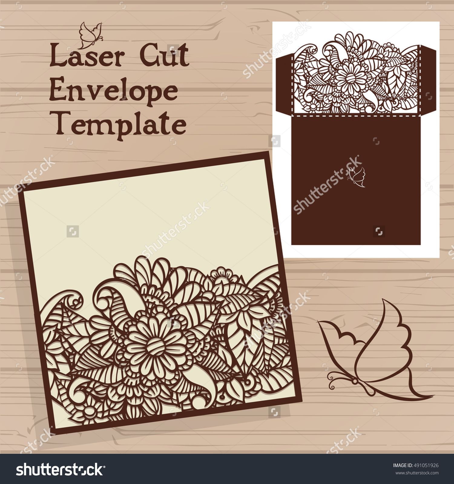 Lasercut vector wedding invitation template wedding invitation lasercut vector wedding invitation template wedding invitation envelope with flowers for laser cutting lace stopboris Choice Image