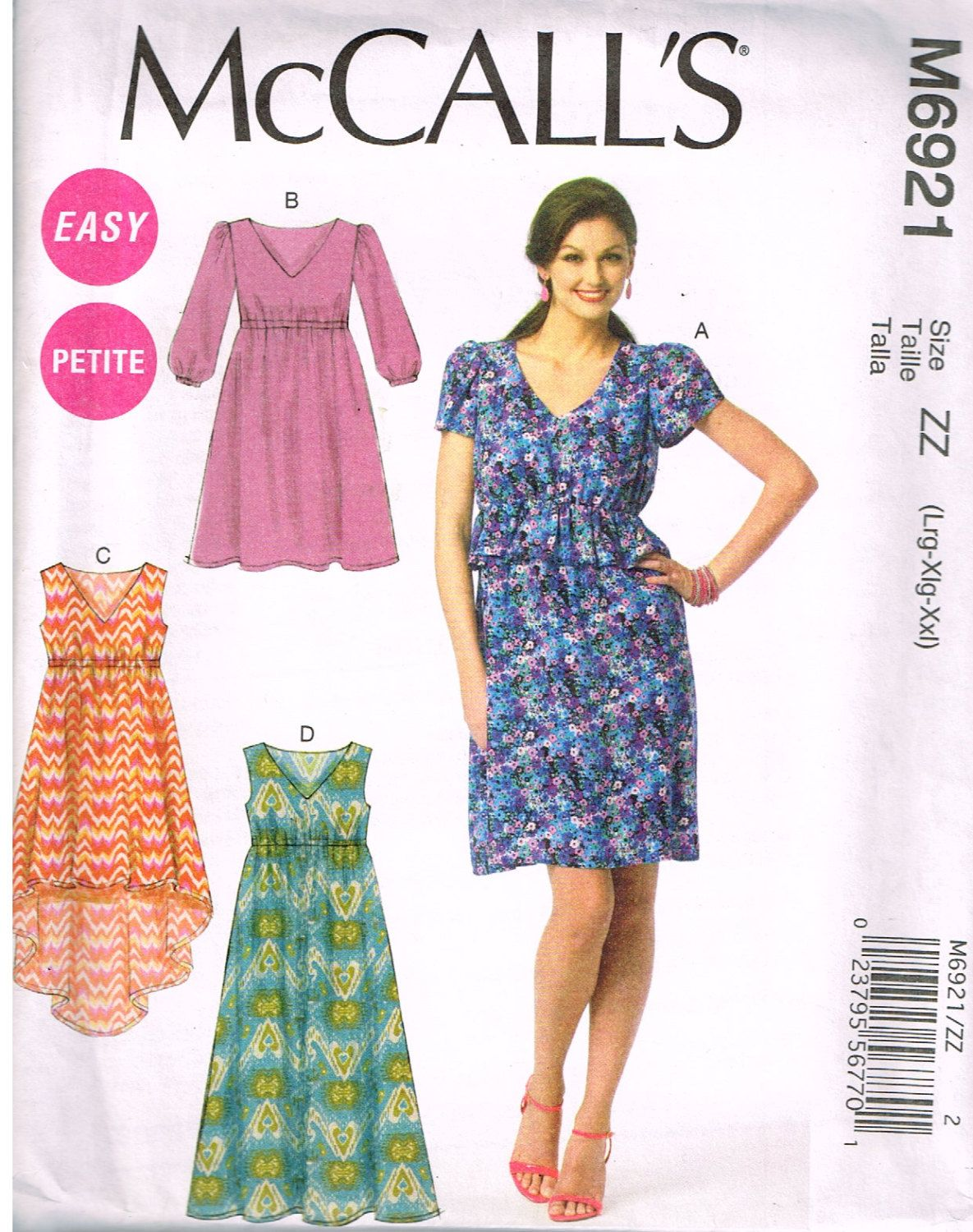 Mccallus m sewing pattern missesu dresses size lrg xl xxl