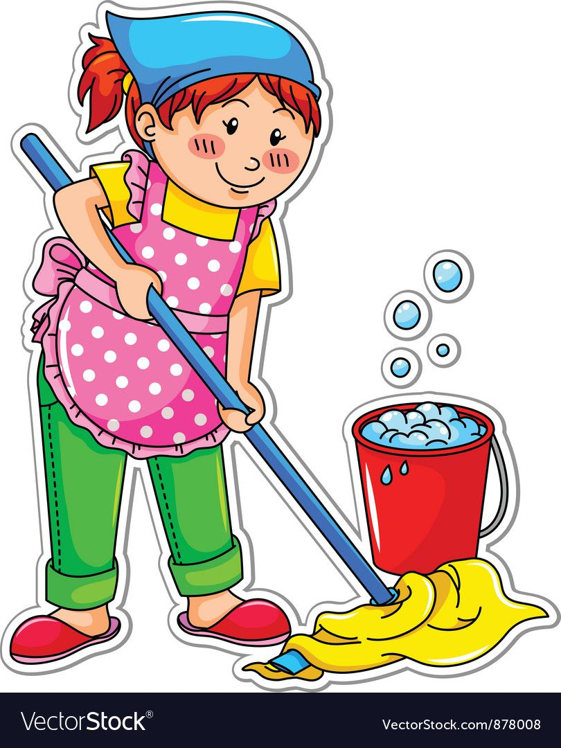 Cleaning Girl Vector Image On In 2020 Free Illustrations Free