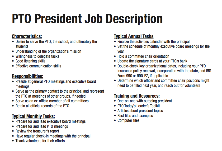 Job Description For Parent Group President Pto Pta