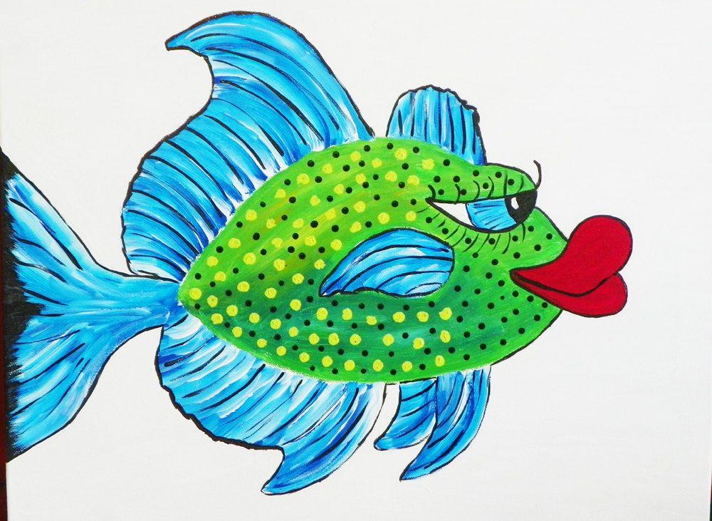 Fish Painting Whimsical Original Art Acrylic On 16 By Judybfreeman