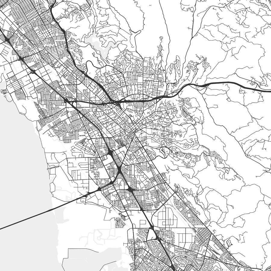 Hayward California Area Map Light Hayward california and Ui ux
